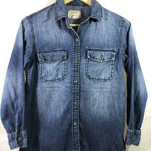 Current / elliot long sleeve denim blouse size 0